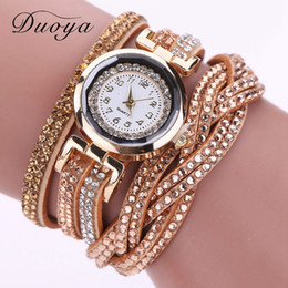 2019 handschlaufe armband Duoya Fashion Brand Quarzuhr Frauen Luxus Gold Strass Armbanduhr Hand Geflochtenes Ribb Strap Kleid Casual Relogio günstig handschlaufe armband