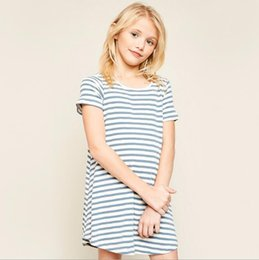 Wholesale juniors tees - Junior Striped Dresses Teenager Cotton Casual Jumper Tees 2018 Big Babies Summer Clothes Kids Clothing