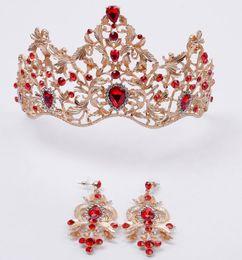 diseños de oro rubí Rebajas Estilo europeo Adornos nupciales, retro, high gold, multi gold drill, corona barroca, pendientes, dos pendientes.