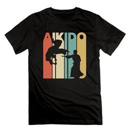 Trajes de estilo vintage online-LKFI KDJI Funny Man Tee - Vintage Style Aikido Silhouette camiseta de traje rosa Camiseta RETRO VINTAGE Classic de manga corta