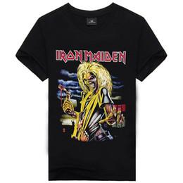Wholesale Rock T Shirts Xxl - Hip hop Rock T shirt Men O-neck Cotton Black Tee shirt Mens Vintage Punk Tees Special Heavy Metal Black Camisetas Hombre M-XXL
