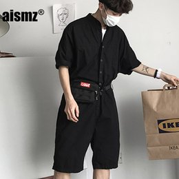 9b4473404411 Aismz Fashion Jumpsuit Mens Rompers Shorts Jumpsuit Male Handsome Baggy Overalls  Short Sleeve Palysuit Cargo tracksuit men male rompers for sale