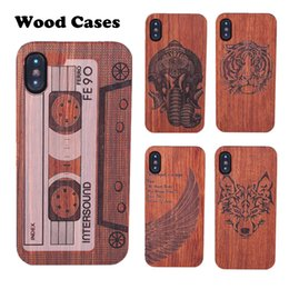 wooden case pattern Coupons - Custom pattern Real Wood Bamboo Phone Cases For iPhone X 8 7 6 Shockproof wooden Hard Back Cover for Sansung S8 Note 8