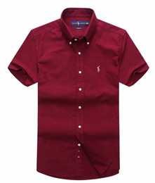 Wholesale long dresses small - New Fashion Small Horse Oxford Men Shirts Long Sleeve Mens Dress Shirts High Quality Mens Business Shirts polo Chemise Homme