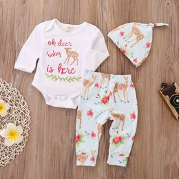8359a702e3b9 INS 2018 cute Baby Girls Boys Outfits 3piece Set Cotton Floral Deer Romper  Onesies Jumpsuits +Pants + hats Oh deer baby nora is here