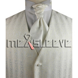 Wholesale Small Waistcoat - hot sale free shipping ivory small leaf waistcoat(vest+ascot tie+cufflinks+handkerchief)