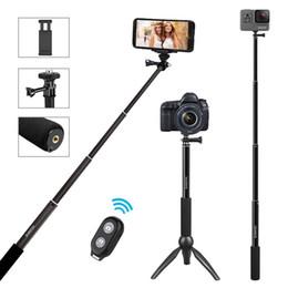 Remoto dslr online-Supporto per treppiede professionale estensibile per smartphone / fotocamere GoPro / fotocamere DSLR con telecomando Bluetooth remoto rimovibile