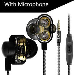 Wholesale Drivers Phones - HiFi Headphones Mini Dual Driver Extra Bass Turbo QKZ DM8 Earphones Wide Sound gaming headset mp3 DJ Field Headset Free Shipping