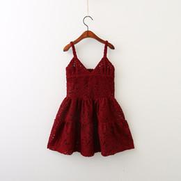 Wholesale 335 Natural - Girls Dress Kids Clothing 2017 Autumn Embroidery Hollow-out Lace Dress Fashion Sleeveless Vest Princess Dress HX-335