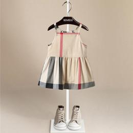 Wholesale Ventas calientes Pure Cotton Plaid Dress Patchwork Baby Girls Inglaterra Estilo Plaid Girl Vestidos Niño Suave Sin Mangas Casual Plaid Dress