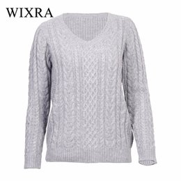 Wholesale Knit Cable Sweater - Wixra Warm and Charm 2017 Autumn New Women Cable Knit Sweaters And Pullovers Casual Loose Winter V neck Twist Knitwear Outwear