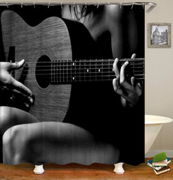 jogador elétrico Desconto Personalizado Flores À Prova D 'Água Guitarra Elétrica Musical Nota Musical Cabeça Do Crânio Cortinas de Chuveiro Cortinas de Banheiro Impressão Digital Com Anéis