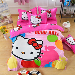 Wholesale Queen Pink Comforter Set - Cartoon Hello Kitty Daroemon Cat Style children Bedding Sets 3-4pcs Bed set Duvet Cover Bed sheet Pillowcase Twin Queen Hot Sell