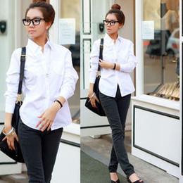 Camisa feminina clássica de colarinho branco on-line-Clássico mulheres camisa branca Blusas 2017 Nova Moda Top Femme Turn-Down Collar Manga Comprida 6 Tamanhos simples blusa branca causual