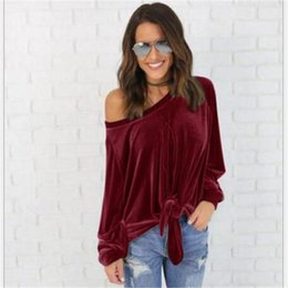 Wholesale Womens Plus Tunic - Plus Size Sexy Off Shoulder Women Shirt Blouses 2018 Womens Loose Spring Long Sleeve Solid Color Tunic Shirt Velvet Tops Blusas