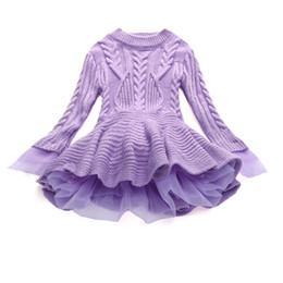 Wholesale Kid Girl Woolen Dresses - girl woolen dress solid cotton lace knit princess thick dress for 3-10years girls kids children Spring Winter warm dress