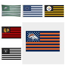 Wholesale fly flags - Rugby Club Banner Flag 90*150cm 3x5 FT Polyester Flying Flag Striped Rugby Flags 7 Styles OOA4876