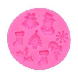 2019 muffa del silicone dell'albero di natale Stampi per dolci in silicone Biscotti fai-da-te Caramelle Natale in silicone Bakeware Calza per albero di Natale Attrezzi da cucina a forma di fiocchi di neve a forma di fiocchi di neve muffa del silicone dell'albero di natale economici