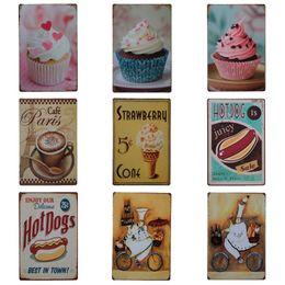 Pintura de doces on-line-Doce Sobremesa Bolo Projeto Placa de Lata de Ferro Original Café Pintura Para Sobremesas Loja Restaurante Ocidental Pendure Latas Poster 20 * 30 cm Z