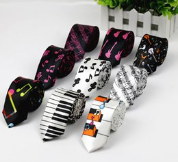Wholesale Piano Tie - Free Shipping New Fashion Novelty Men's Music Tie Piano keyboard Guitar Music Note Necktie Wholesale