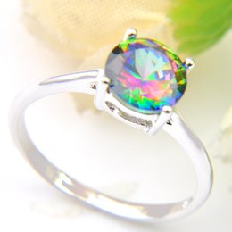 Wholesale Mix Silver Jewelry - Vintage 925 Sterling Silver Queen Fancy Natural Mystic Topaz Round Gemstone Jewelry Austrian Crystal Wedding Ring for lovers CR0471