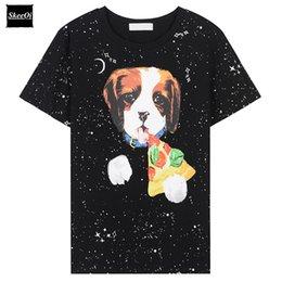 Wholesale Cosmic Black - Summer Ladies Tees Casual New Fashion Europe T-shirt Cosmic Dog Pattern Print Loose Runway Designer Tops T Shirt Women Top Femme