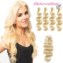 Extensión brasileña del pelo rubio de la Virgen 613 paquetes coloreados de la onda 4 del cuerpo con el encierro del cordón Remacho europeo del pelo de Remy del grado 10A desde fabricantes