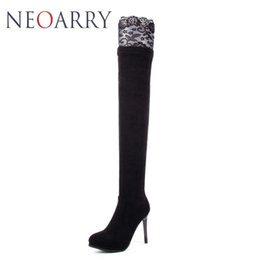 low heel long boots Promo Codes - Neoarry Lace Wedding Shoes Woman High Heels Low Platform Thigh High Long Boots Sexy Slim Over the Knee Boots Black Red T167