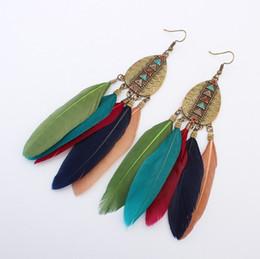 Wholesale Feather Fashion Earrings - Dangle Red Blue Pink Feather Drop Earrings Beads Bridal Indian Ethnic Vintage for Girls Women Sale Jewelry Pierced Ears Earring Stud Fashion