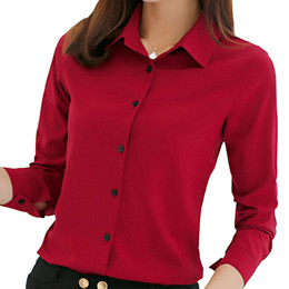 Wholesale korean formal woman shirt - women blouse office shirt summer autumn long sleeve white pink red navy blue work wear korean formal tops female clothing