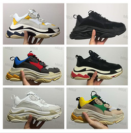 Wholesale Vintage Canvas Fabric - 2017 FW Retro Triple S Sneaker Mens Fashion Vintage Kanye West Old Grandpa Trainers Casual Shoes Size 36-45 With Box
