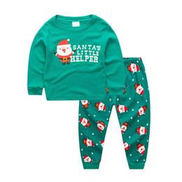Roupas de bebê menino santa on-line-Conjuntos de Roupas de natal Do Bebê Das Meninas Dos Meninos Crianças Manga Longa Papai Noel Tops + Long Pant Roupas Outfit Xmas Terno