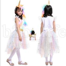 Wholesale girls lace headbands - Girls unicorn Rainbow Dress Unicorn Headband Angel Wings Lace Tutu Princess Dress 3 Pieces Suits Cosplay Clothing dress KKA5502