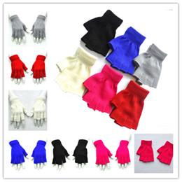 Gants tricotés à moitié drole en Ligne-Enfants demi gants sans doigts laine hiver chaud tricoté mitaines hommes femmes unisexe étudiants écrivent gant mitaine doigt doigt gant cadeaux de no