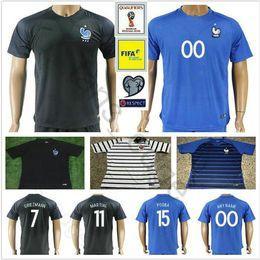 Wholesale France Soccer Jerseys - 2018 World Cup France Soccer Jersey GRIEZMANN POGBA MARTIAL CABAYE PAYET VARANE GIROUD KANTE MABAPPE Customize Blue Football Shirt