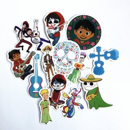 Wholesale helmet set - 13PCS Set Popular Movie Coco Hector Miguel Stickers For Phone Luggage Car Helmet Guitar TV Box Kid Decal Stickers