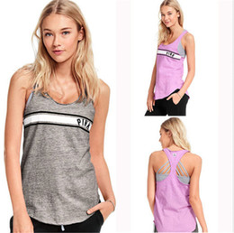 Wholesale Vest Tee Shirt - Love Pink Letter Gym Sports Sleeveless pink T shirts Tank Tops Fitness Running T-shirt Yoga Vest for Gilrs m-2xl Size vs summer Top&Tee