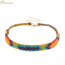 Wholesale cotton choker necklaces - 2018 Hot Fashion Ethnic Colorful Weave Chokers Necklace Hand Made Cotton Necklace Alloy Star Statement Necklaces Female Jewelry