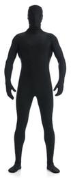 Maschera di catsuit online-Completo nero Zentai Suit MenKids Completo Hood Zentai Body Lycra Body Suit con maschera Spandex Catsuit Unitard Tight Suit Cosplay