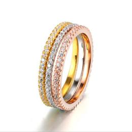 Gelbe rose schmucksets online-Concise Klassische Mini CZ Diamod 3 Farbe Rose Gelb Weiß Farbe Ring Sets Party Hochzeit Schmuck-Mode-OL für Frauen Geschenk