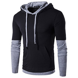 Abnehmende t-shirts für männer online-Fashion New Herren Hooded Sling T-Shirt Fashion Long Sleeve T-Shirts Männlich Schlank Männlich Tops Herren Designer Casual Getäfelte Farbnähte T-Shirt