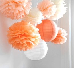 """Wholesale hanging paper flower - 8pcs  Lot Wedding Decorations Set """"Mood For Love """"Tissue Paper Pom Poms Chinese Paper Lanterns Hanging Fluffy Flowers Party Decor"""