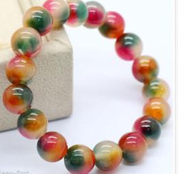 Wholesale Handmade Gemstone Bracelets - Handmade 10mm Natural Multicolor Jade Round Gemstone Bangle Stretchy Bracelet