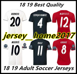 acde72d71 2018 2019 real madrid Soccer Jersey football shirt Modric Kroos Bale Marcelo  18 19 Champions League patches Real Madrid ronaldo third shirts
