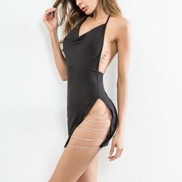 2018 Mujeres Sexy Vestido de Split Vestidos de la correa de espagueti Mini Vestido Corto de la cadena de Verano Sin Espalda de Cintura Alta Party Club Vestidos desde fabricantes