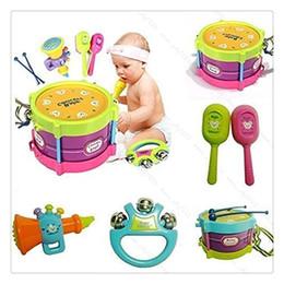 5 Pcs Crianças Baby Roll Drum Instrumentos Musicais Banda Kit Crianças Brinquedo Set Presente de Natal de Alta Qualidade Venda Quente supplier rolls drum de Fornecedores de rola tambor