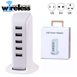 Wholesale Intelligent Travel - 20W 5 USB Portable Charger For US EU UK Plug Multi Intelligent Charging Socket Travel Charger for Phone Pad Computer Standard USB Cha