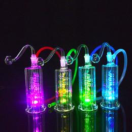 """Bongos led on-line-LED Dab Rig Bongo De Vidro 4.5 """"polegadas Portátil Alto Plataformas De Petróleo Tubulação De Água Inline Bobina Perc Hookah Cachimbos 10mm Comum"""