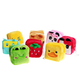 Wholesale plush rabbit purse - Wholesale- Children cartoon plush small wallet kids cube cute rabbit bear small coin pouch childern porte monnaie