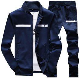 Wholesale long zip hoodie - New Brand Designer Tracksuit Men Luxury Winter Sportswear Hoodies Coat Loose Mens Tracksuits Zipper Sets Plus Size Coat Pant